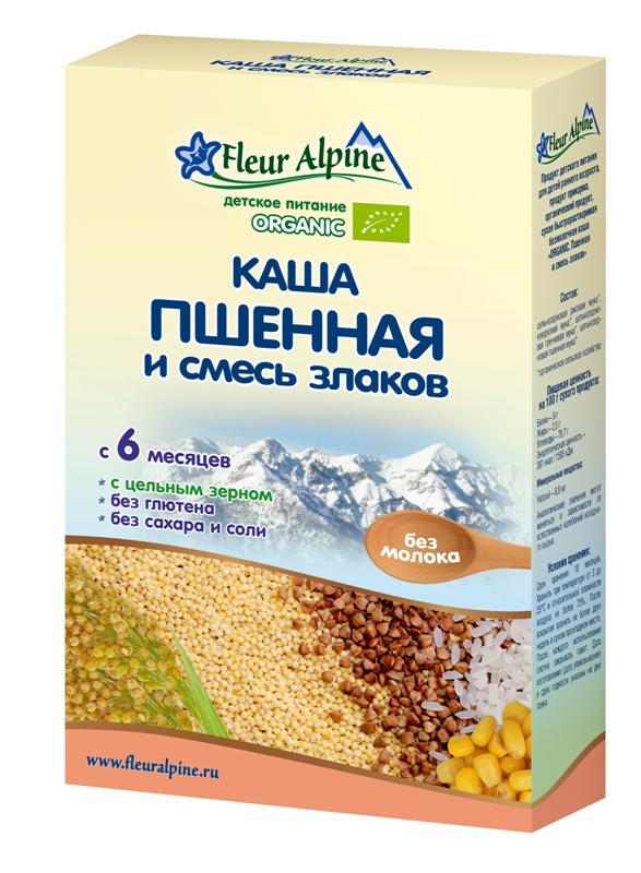 Купить Каша Fleur Alpine Organic безмолочная пшенная и смесь злаков, 175гр, Франция