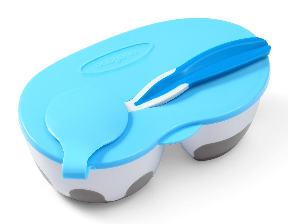 Тарелочка BabyOno с отделениями и ложечкой, голубая фото