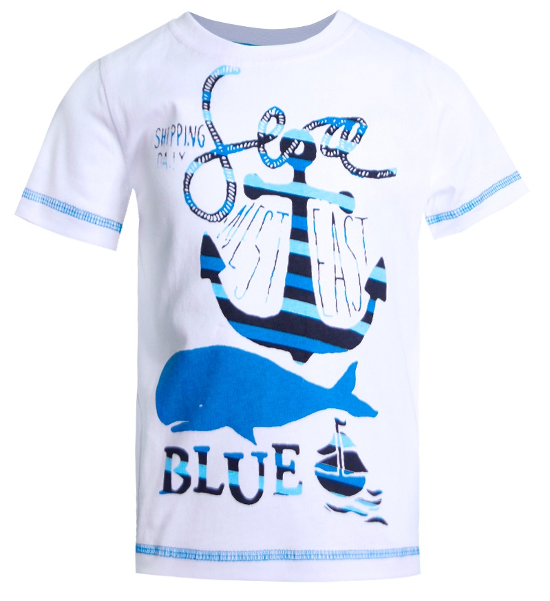 Футболка НОАТЕКС+ 11266 для мальчика, бело-голубая фото