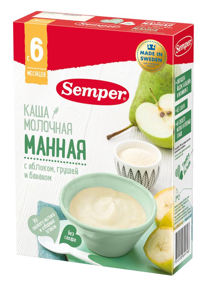 Купить Каша Semper Манная молочная с яблоком, грушей и бананом, 200гр, Швеция