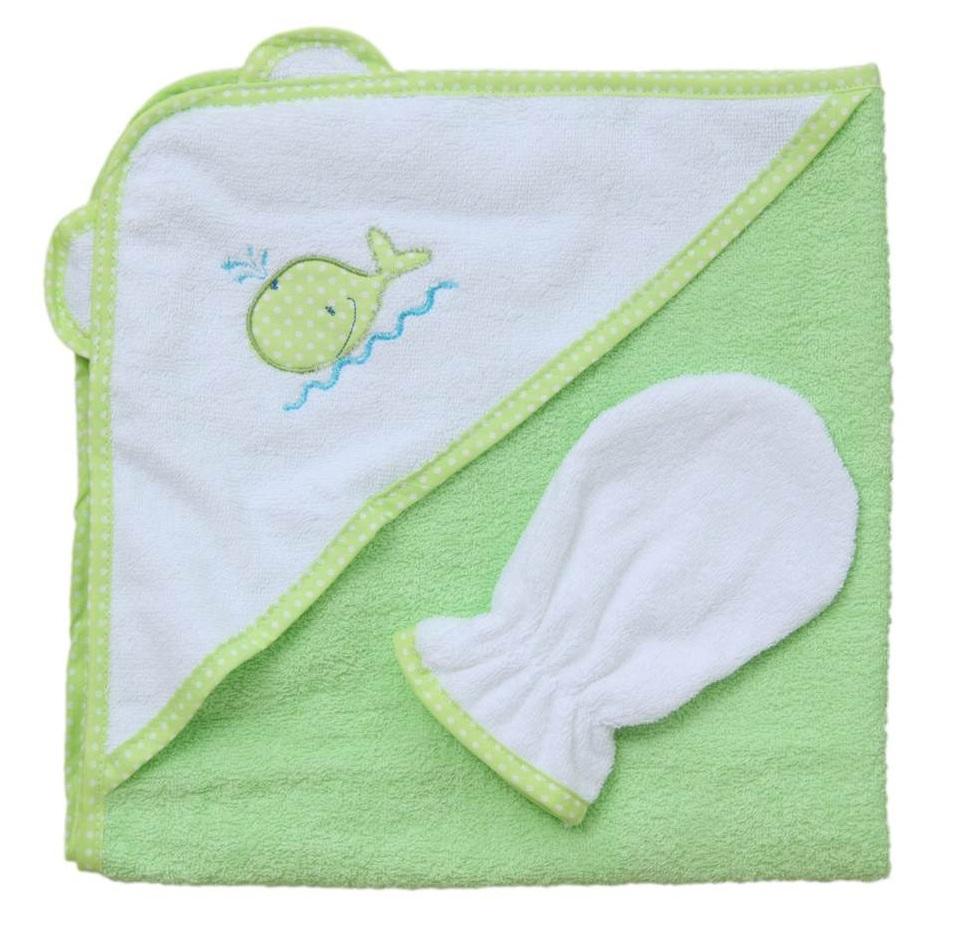 """Комплект для купания Фея """"Кит"""": полотенце с уголком и махровая рукавичка"""