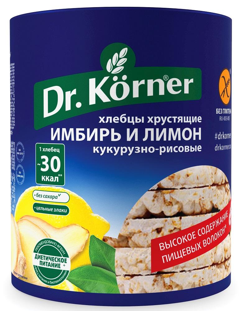 Купить Хлебцы Dr. Korner Кукурузно-рисовые имбирь и лимон, хрустящие, 90гр, Россия