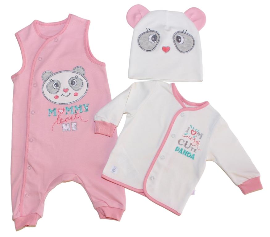 Купить Комплект Bembi Панда розовый: кофточка, комбинезон и шапочка, Наша Мама, Россия, Розовый, 56