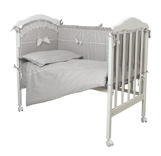 Купить Комплект в кроватку Сонный Гномик 618 Версаль , 6 предметов, дымчато-бежевый, Россия