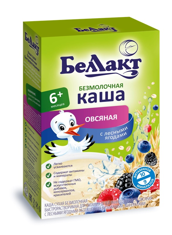 Купить Каша Беллакт овсяная безмолочная с лесными ягодами, 200гр, Беларусь