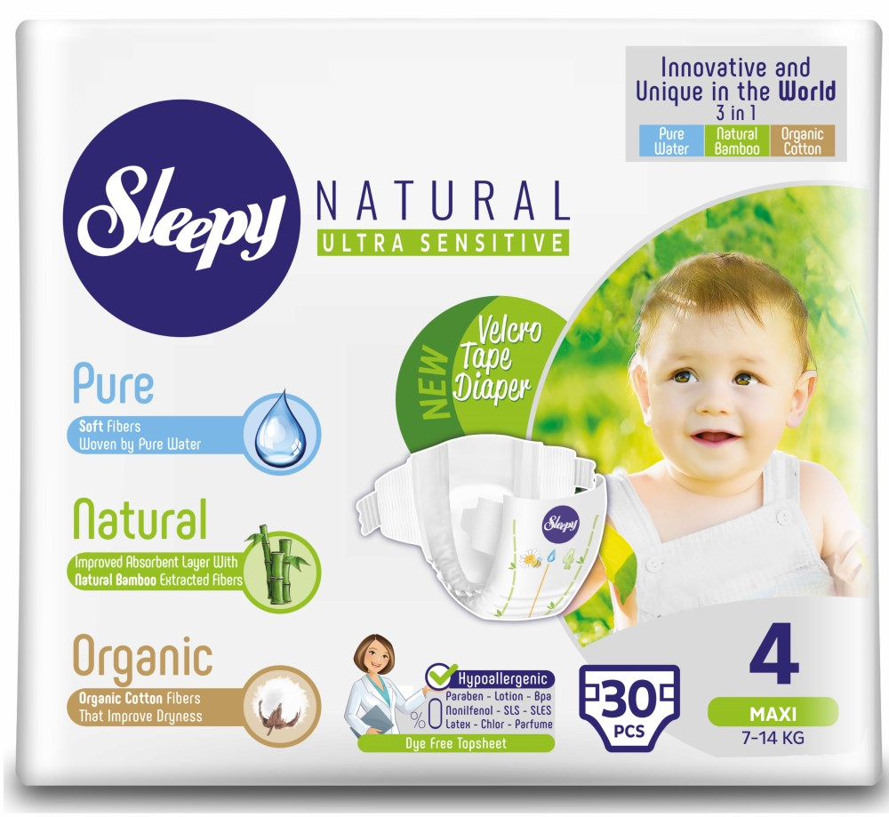 Купить Подгузники Sleepy Natural Maxi 4, 7-14кг, 30шт., Турция