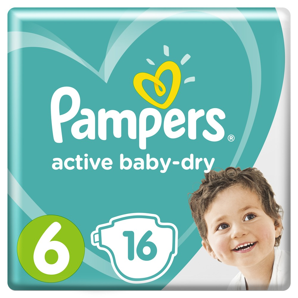 Подгузники Pampers Active Baby-Dry Extra Large 6 (13-18кг), 16шт.