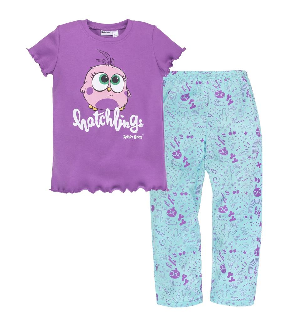 Купить Пижама Bossa Nova Angry Birds для девочки: футболка и брюки, Витоша, Россия, Мульти, 122