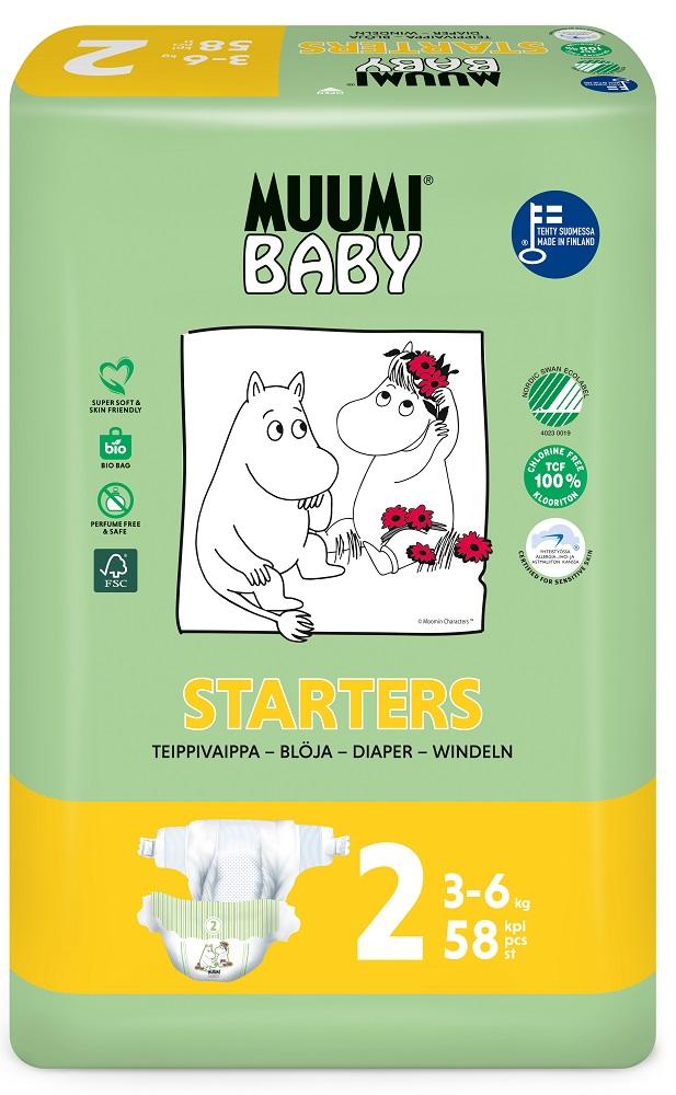 Купить Подгузники Muumi Baby Mini 2, 3-6кг, 58шт., Финляндия