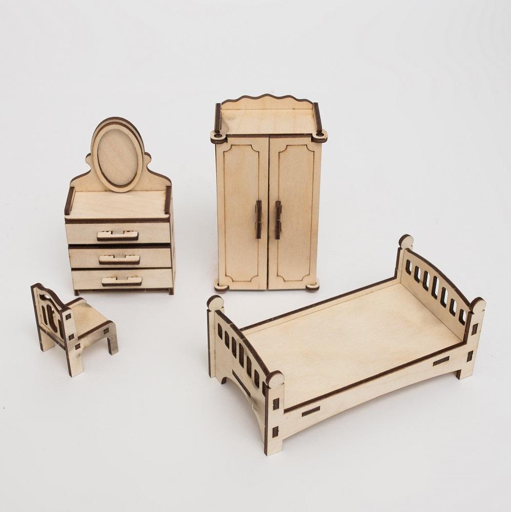 Купить Набор сборной мебели Эlen Toys Спальня для кукольного домика , 4 предмета, Россия
