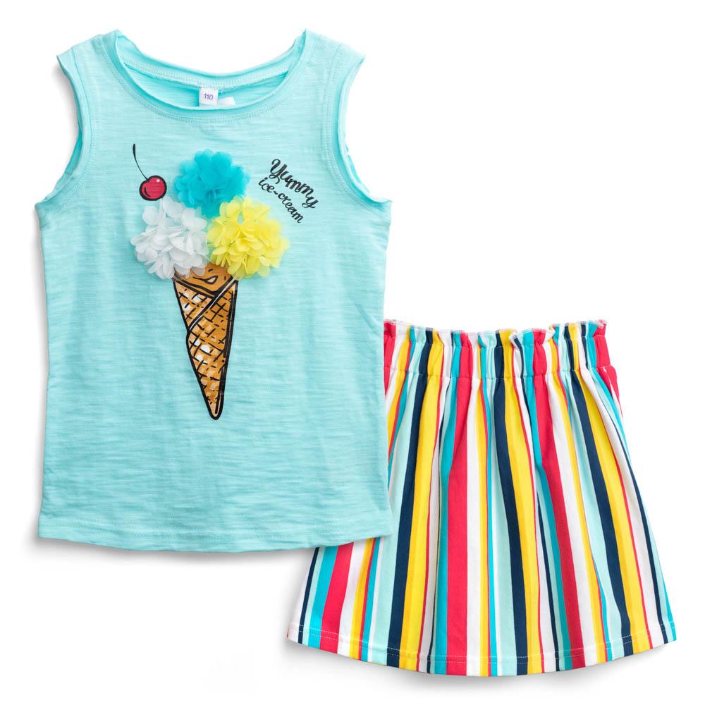 Купить Комплект PlayToday Мороженка для девочки: топ и юбка, Наша Мама, Россия, Мульти, 104