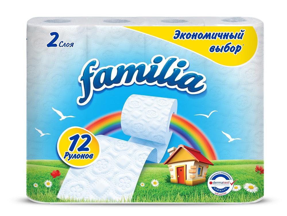 """Туалетная бумага Familia """"Экономичный выбор"""", 2 слоя, 12 рулонов фото"""