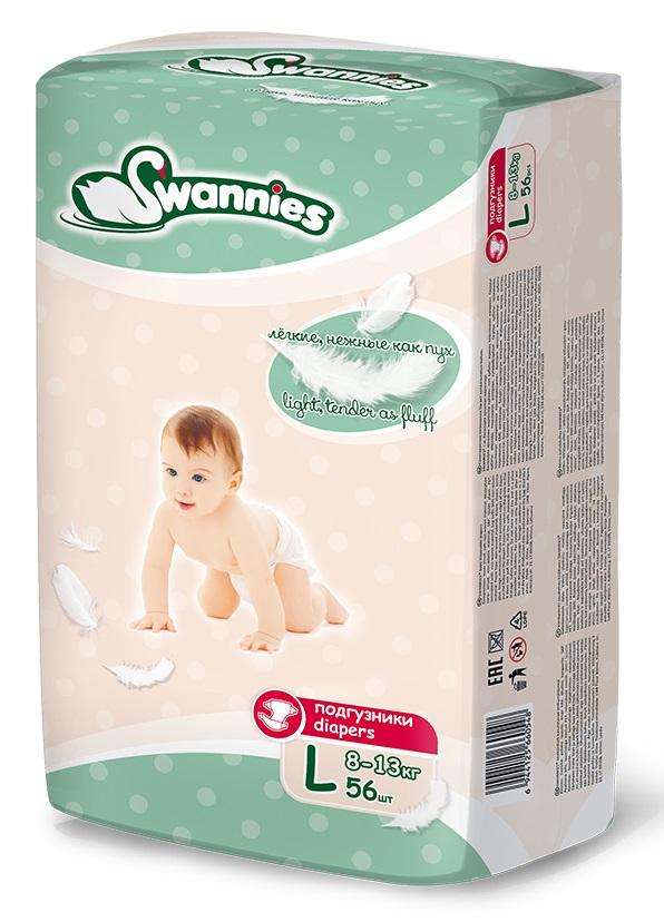 Купить Подгузники Swannies L 8-13кг, 56шт., Китай