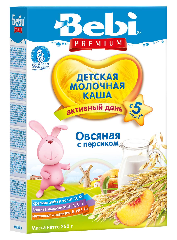 Купить Детская каша Bebi Premium молочная овсяная с персиком, 250гр, Словения