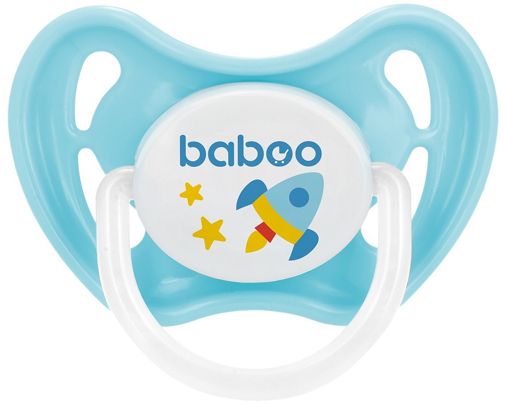 Купить Соска-пустышка Baboo Space силиконовая, ночная, 0+, Великобритания, Голубой