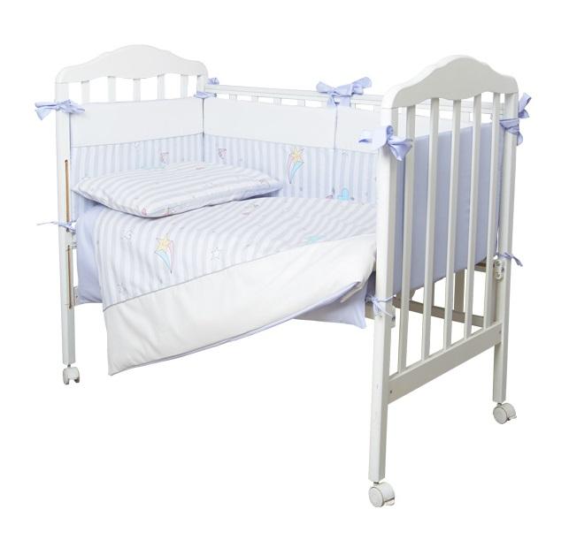Купить Комплект в кроватку Сонный Гномик Серебряная нить , 6 предметов, голубой, Россия