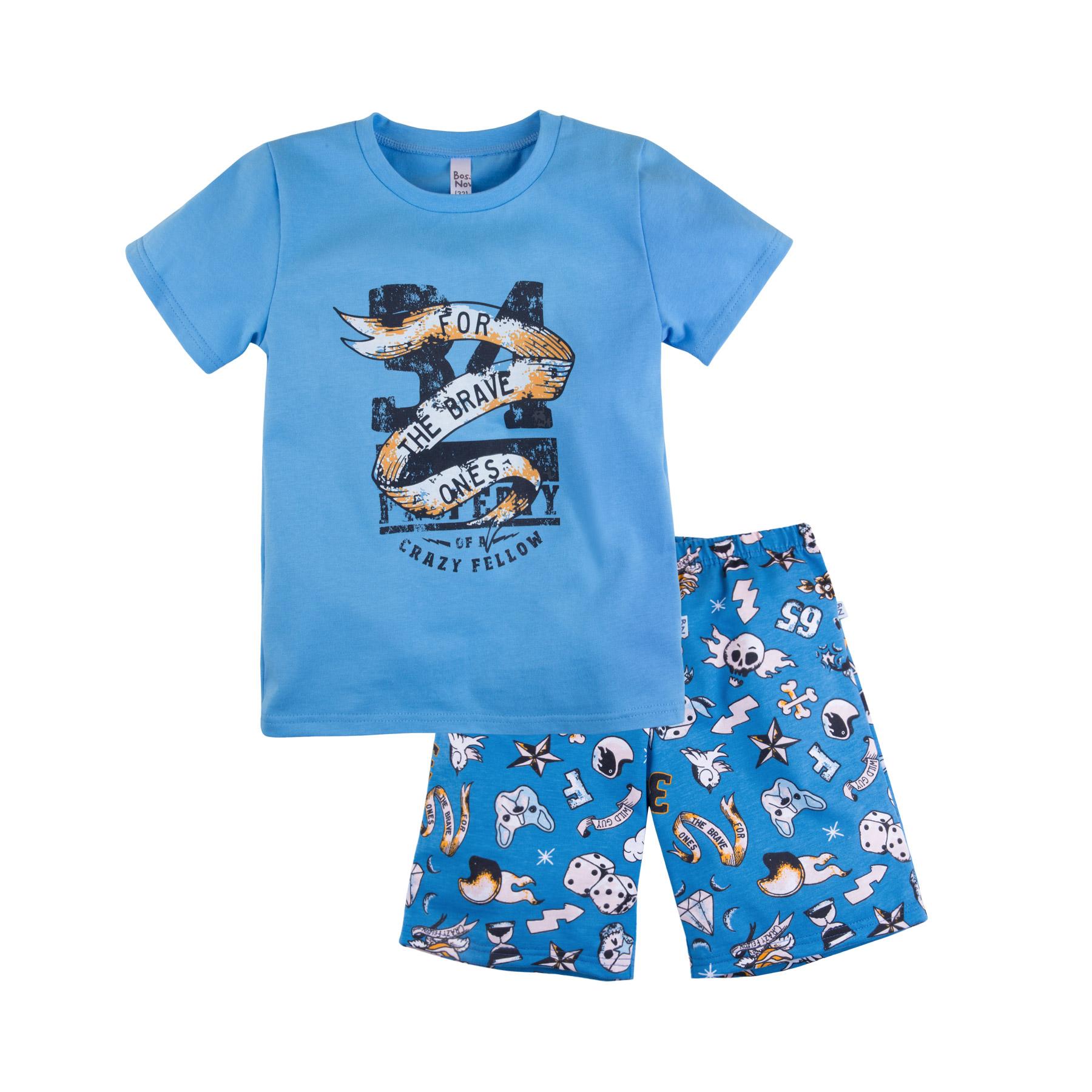 Купить Пижама Bossa Nova Тату для мальчика: футболка и шорты, голубая, Журавлик, Россия, Голубой, 98
