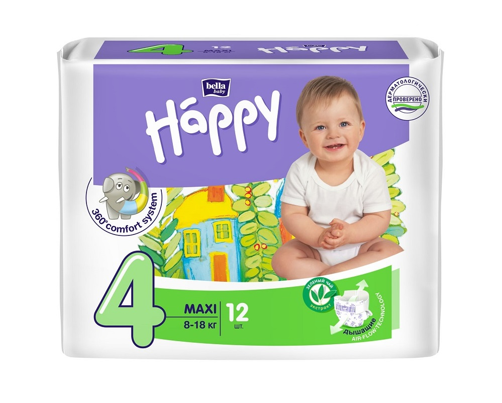 Подгузники Bella Baby Happy Maxi 4 (8-18кг), 12шт.