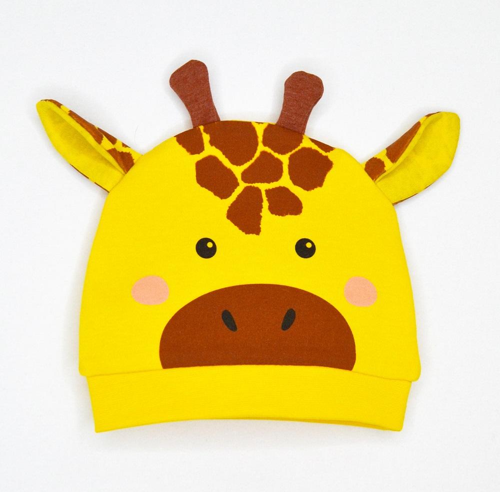 "Шапка Baby Boom ""Жираф"", с ушками и рожками фото"