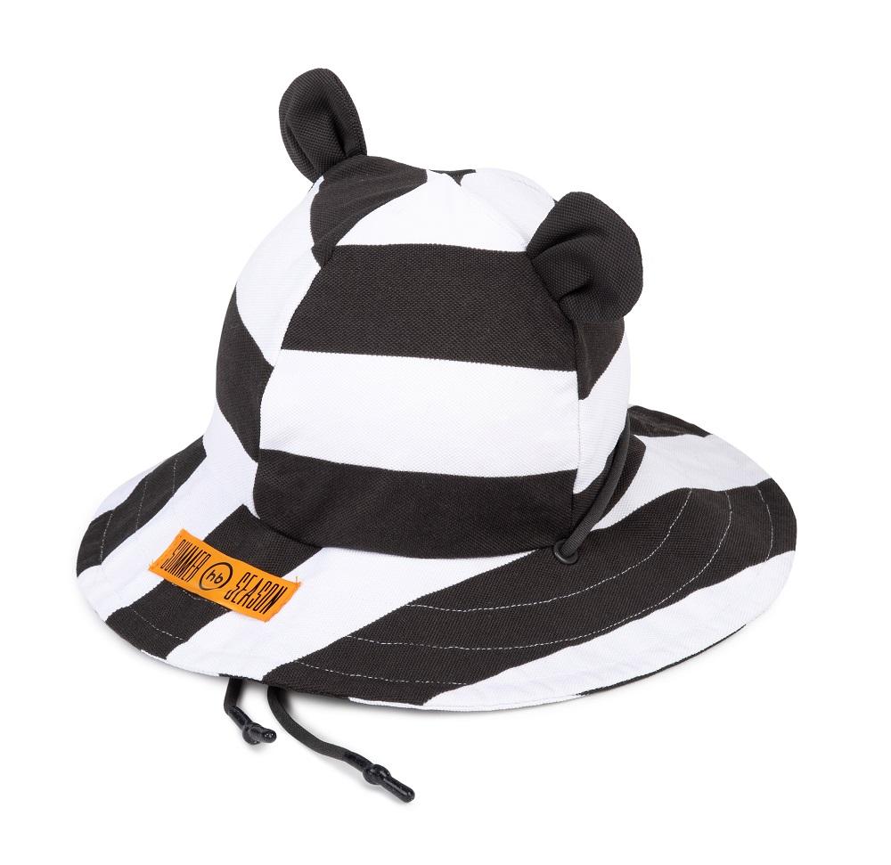 Панама Happy Baby с ушками и завязками, чёрно-белая
