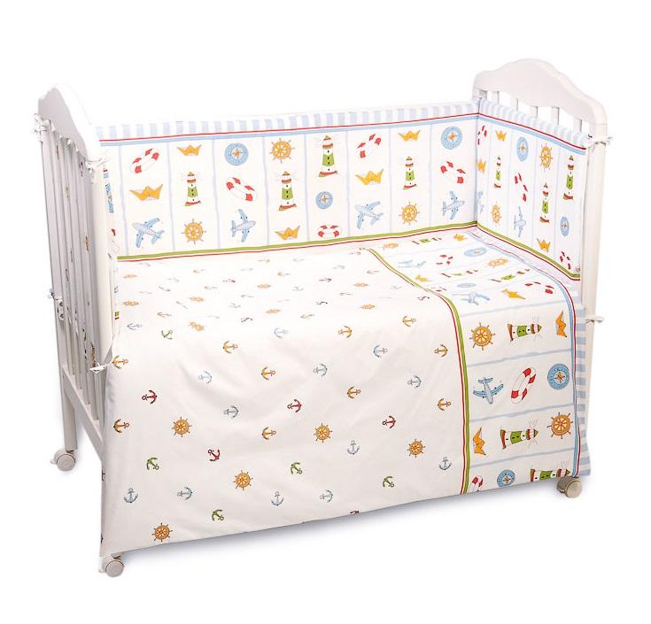 Купить Комплект в кроватку Сонный Гномик Маяк , 6 предметов, голубой, Россия