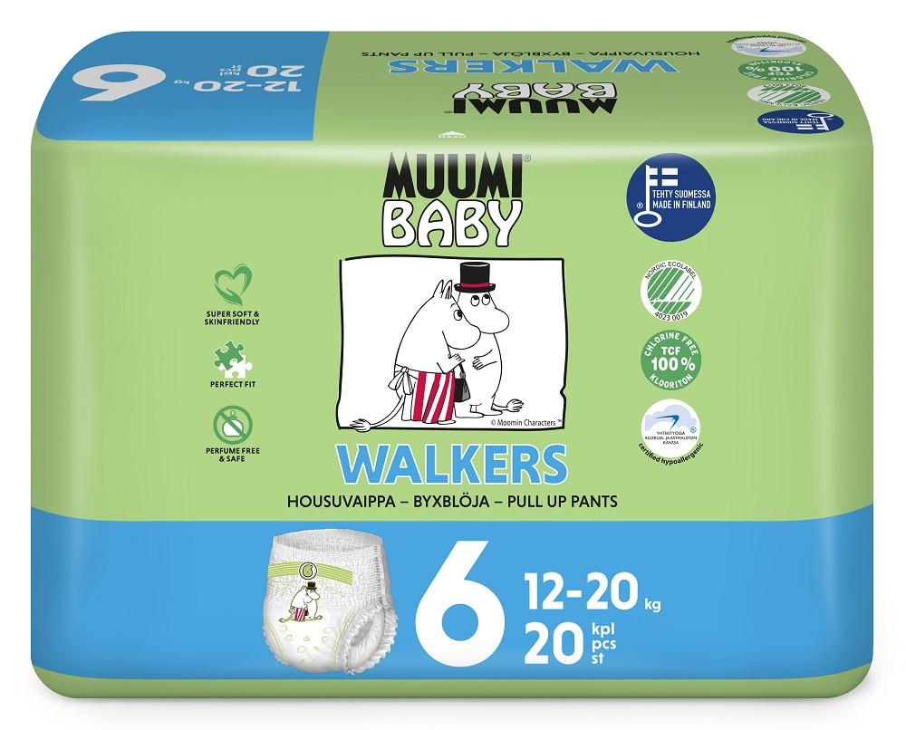Купить Подгузники-трусики Muumi Walkers Junior, 12-20кг, 20шт., Финляндия