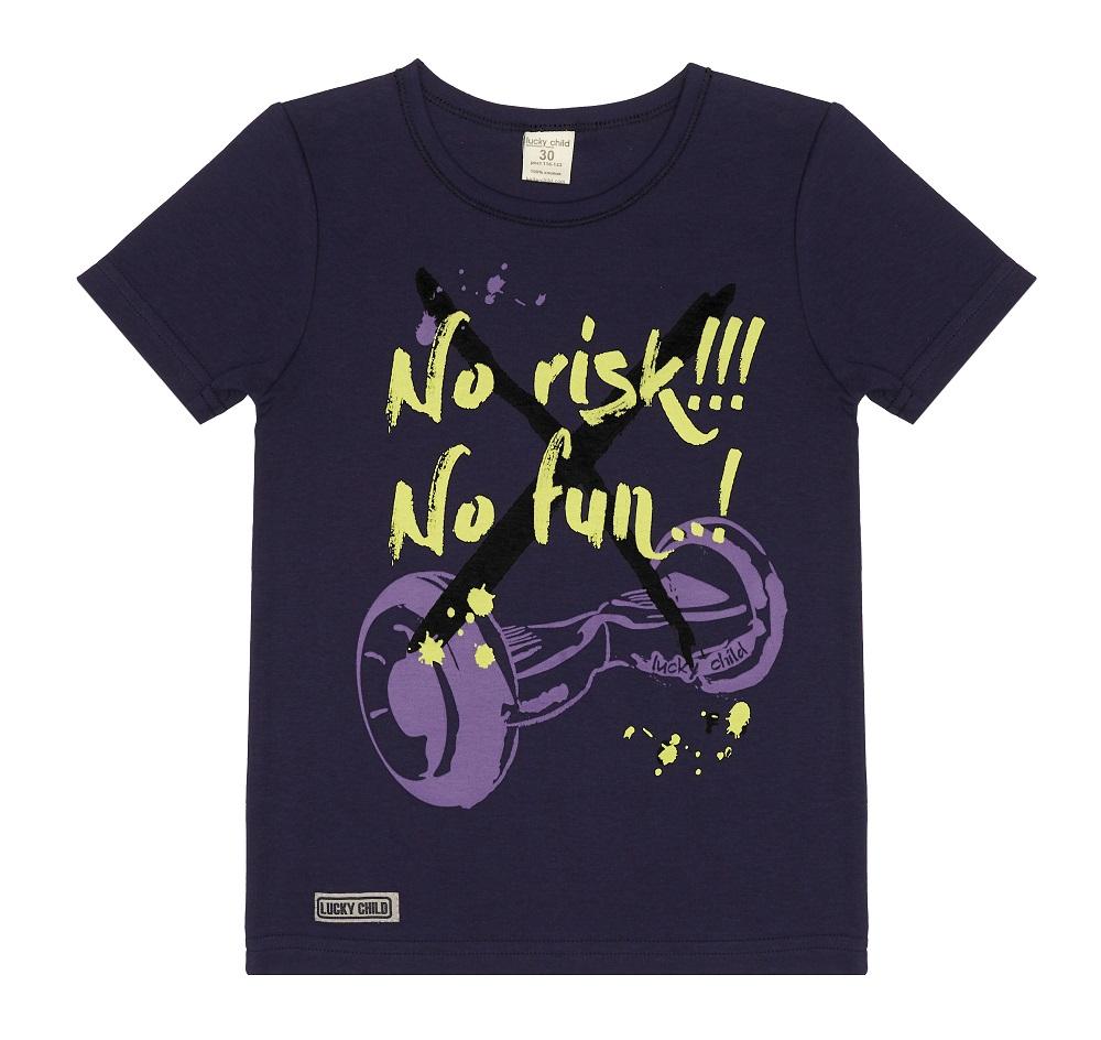 Купить Футболка Lucky Child No risk! No fun! для мальчика, синяя, Bembi, Украина, Синий, 104