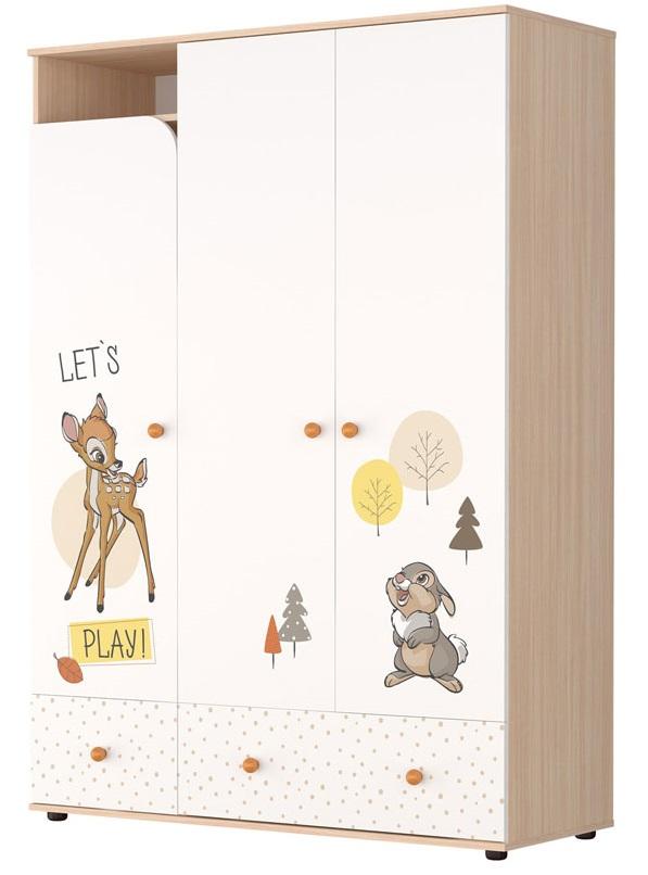 Купить Шкаф трехсекционный Polini kids Disney baby Бэмби , белый-дуб, Россия