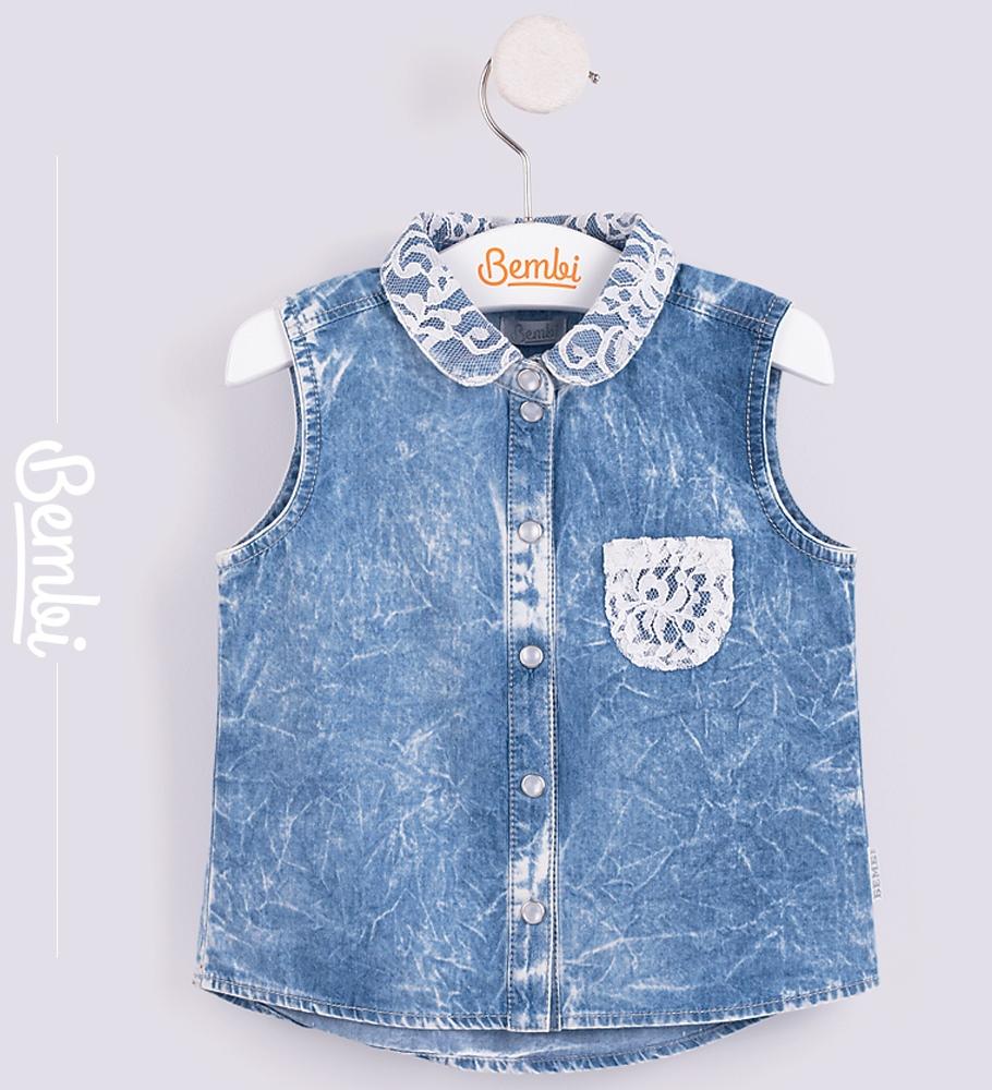 Купить Рубашка для девочки Bembi, джинсовая, Durex, Великобритания, Синий, 128