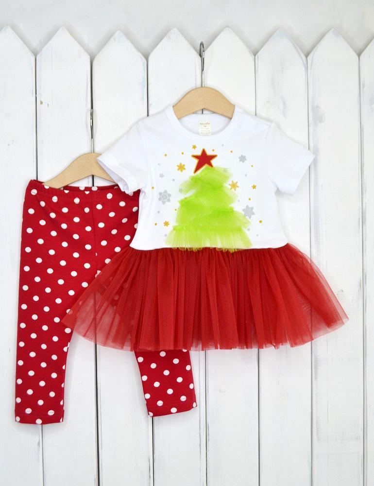 Купить Новогодний комплект для девочки Baby Boom Елочка , красный, Наша Мама, Россия, Красный, 80