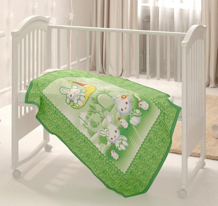 Купить Одеяло байковое Baby Nice Зайка на луне , 100х140см, зеленое, Россия