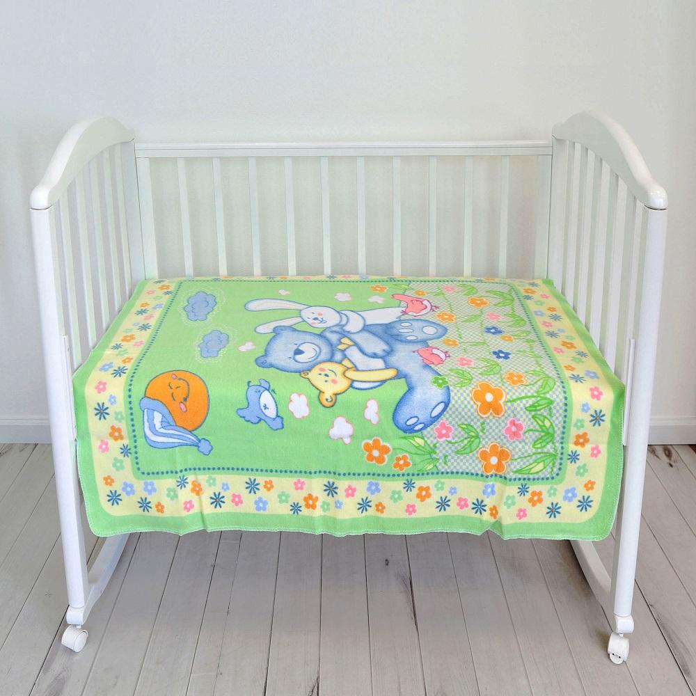 Купить Одеяло байковое Baby Nice Мишка на лужайке , 100х118см, салатовое, Россия