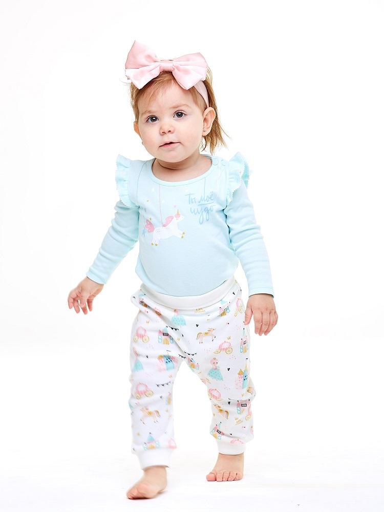 Купить Комплект UMKA 402-017-01-192 для девочки: футболка и брюки, светло-голубой, Polini Kids, Россия, Голубой, 68