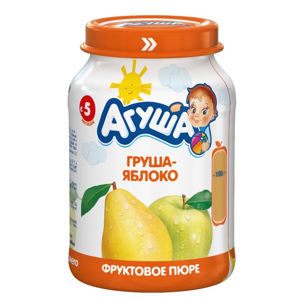Фруктовое пюре Агуша Груша-яблоко, 200гр, Россия  - купить со скидкой
