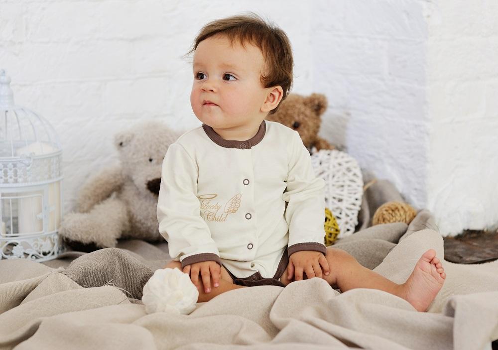 Купить Боди Lucky Child Ангелочки с длинным рукавом, молочный, Наша Мама, Россия, Молочный, 68