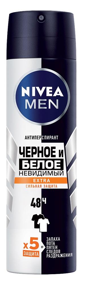 Купить Антиперспирант-спрей Nivea Men Extra Черное и белое Невидимый , 150мл, Германия